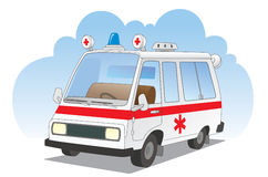 Ambulance car. Emergency medical vehicle with flashing lights Stock Illustration