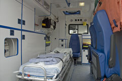 Ambulance car. Interior photo with no people Stock Images