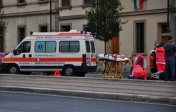 Ambulance after car accident Royalty Free Stock Photos