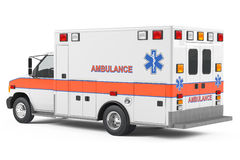 Ambulance car back. At the white background Royalty Free Stock Image