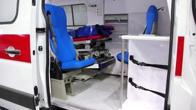 Ambulance car cabin stock video footage