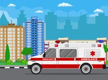 Ambulance car. City landscape with skyscrapers. Hospital transport medical care clinic.Urgency and emergency service vehicle. Vector illustration in flat style Stock Photography