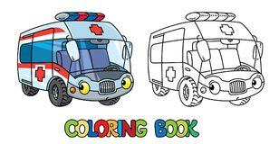 Funny small ambulance car with eyes. Coloring book Stock Image