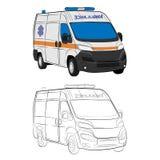 Ambulance car drawing illustration royalty free stock images