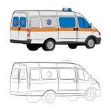 Ambulance car drawing illustration royalty free stock photos