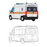 Ambulance car drawing illustration royalty free stock photography
