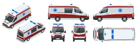 Ambulance Car. An emergency medical service, administering emergency care to those with acute medical problems. Side view, top, roof, rear, front, isometric Stock Photography