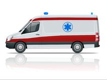 Ambulance Car. An emergency medical service, administering emergency care to those with acute medical problems. Side view Royalty Free Stock Photography