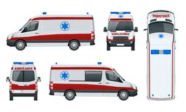 Ambulance Car. An emergency medical service. Administering emergency care to those with acute medical problems. Side view, top, roof, rear, front. Vector Stock Photo
