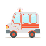 Ambulance car, emergency medical service vehicle colorful cartoon vector Illustration Stock Photos