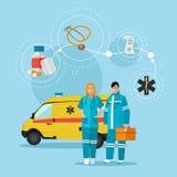 Ambulance car and emergency paramedic team.   Stock Image