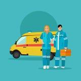 Ambulance car and emergency paramedic team.  Royalty Free Stock Images