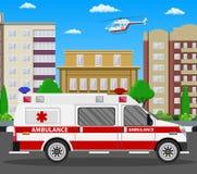 Ambulance car. Emergency vehicle. Ambulance car. Emergency vehicle and helicopter. Hospital transport. Healthcare, hospital and medical diagnostics. Urgency and Royalty Free Stock Photography