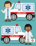 Ambulance Car and Female Doctors. Cartoon ambulance car with white and black female doctors, isolated on blue background. Doctor consultation, healthcare and Stock Photo