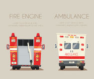 Ambulance car and Fire truck. Vector cartoon illustration Stock Image