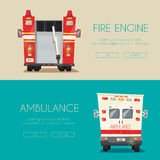 Ambulance car and Fire truck. Vector cartoon illustration Stock Images