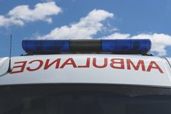 Ambulance car. Ambulance and flasher or flashing light royalty free stock photography