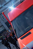Ambulance car with flashing warning lights Royalty Free Stock Photo