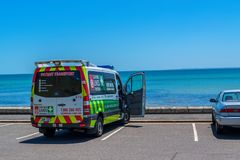 Ambulance car at Frankston. Ambulance car by the ocean at Frankston, Victoria, Australia royalty free stock photos