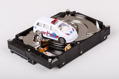 Ambulance car on harddrive or hdd - data rescue concept Stock Image