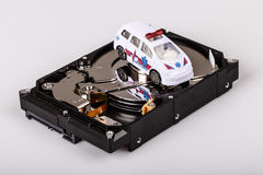 Ambulance car on harddrive or hdd - data rescue concept. Ambulance car on harddrive or hdd - data backup, safe and rescue concept stock photo