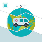 Ambulance car icon in flat design style Royalty Free Stock Images