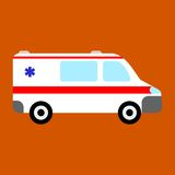 Ambulance car icon. On orange Stock Photo