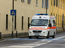 Ambulance car in Italy. December 18, 2014, Trezzo sull'Adda, Italy: An ambulance car from Busnago Emergency on the road in Trezzo sull'Adda city, Italy Stock Photos