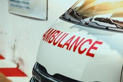 Ambulance car in the morning stock photo