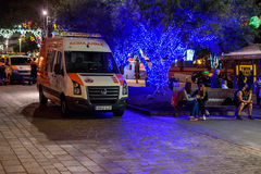 Ambulance car at night street of Santa Cruz de Tenerife, Spain Stock Photos