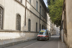 Ambulance car in nursing home in Lucca, Italy Royalty Free Stock Photos
