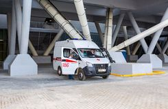 Ambulance car parked up near the Samara Arena football stadium Stock Photo