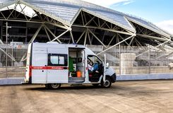 Ambulance car parked up near the Samara Arena football stadium Stock Photos