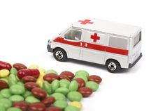 Ambulance car and pills Stock Image