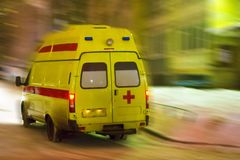 Ambulance car rides on call. stock photo