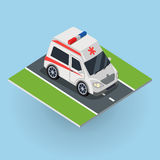 Ambulance Car on the Road. Top View. On emergency medical evacuation machine. Flat 3d isometric high quality city service ambulance car. First aid transport Royalty Free Stock Photos