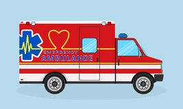 Ambulance car side view. Emergency medical service vehicle with heart shape, cardio pulse and medic sign. Medics transportation service. Hospital transport Stock Photography