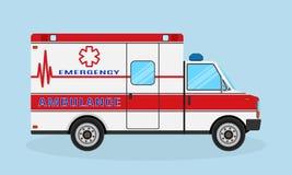 Ambulance car side view. Emergency medical service vehicle. Medics transportation service. Hospital transport. Flat style vector illustration Royalty Free Stock Image
