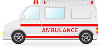 Ambulance car silhouette on white background Stock Images