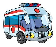Funny small ambulance car with eyes. Stock Photography