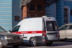 Ambulance car downtown Europe, Russia. St. Petersburg, Russia - May 01, 2019: ambulance car parked near city building stock photography