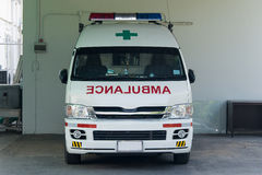 Ambulance. The ambulance car standby in garage stock photo