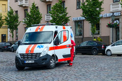 Ambulance car on the street of Klaipeda, Lithuania Stock Photography