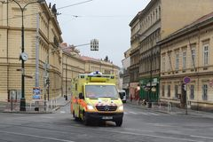 Ambulance car on the streets of Prague Royalty Free Stock Photography