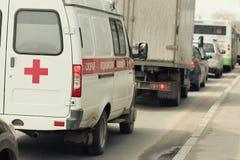 Ambulance car in traffic Stock Image