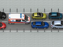 Ambulance car in traffic jam top view Royalty Free Stock Photo