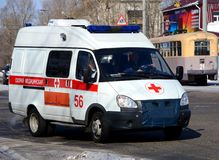 The ambulance car. Traveling through the city stock photos