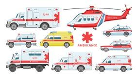 Ambulance car vector emergency ambulance-service vehicle or van and medical care transport in hospital illustration set vector illustration