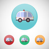 Ambulance car vector icon set. Stock Images