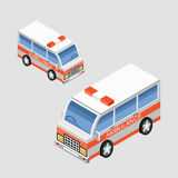 Ambulance car. Vector. Isometric ambulance car in two projections. Vector Royalty Free Stock Photo